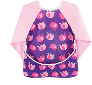 Toddler Baby Smock Waterproof Long Sleeve Bib with Pockets, 6-24 months