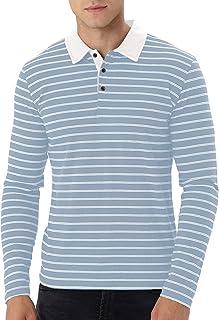 MLANM Men's Short/Long Sleeve Stripe Polo Shirts Casual Slim Fit Basic Designed Cotton Shirts