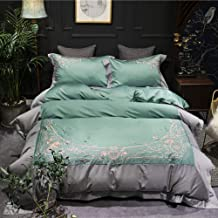 Green Gray Color Stitching Cotton Material Cotton Satin Embroidery Pattern Quilt Bed Linen Bedding A Family Of Four Gift S...