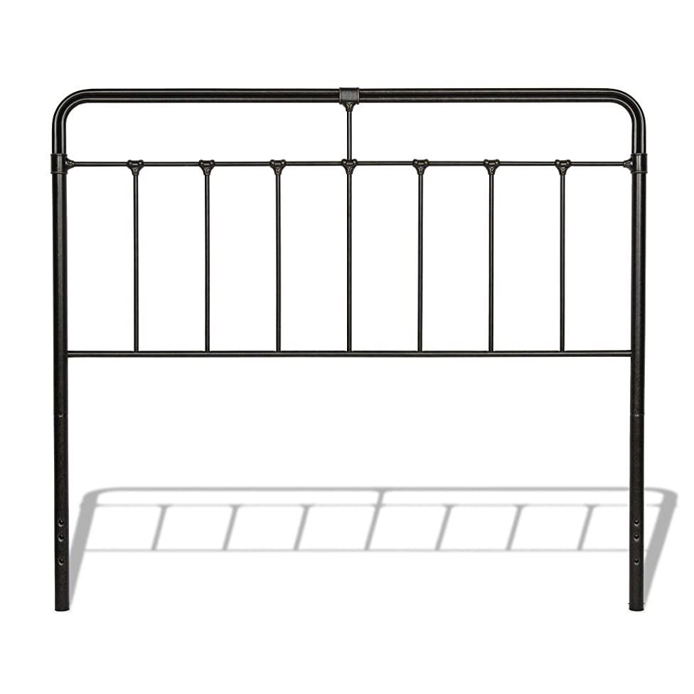 Leggett & Platt Fairfield Metal Headboard Panel with Spindles and Intricate Castings, Dark Roast Finish, Queen