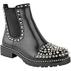 5e28807bf397 Fashion Thirsty Womens Low Spike Studded Chunky Ankle Boots B ..