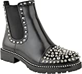 Fashion Thirsty Womens Stud Ankle Boots Chunky Flat Low Heel Chelsea Goth Punk