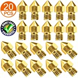 AJSPOW 20PCS 3D Printer Extruder Nozzles 0.4mm for Anet A8 Makerbot MK8 Creality CR-10 10S S4 S5 Ender 3 3Pro 5 with Free Storage Box
