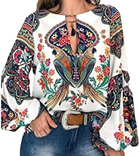 CRYYU Women's Print Round Neck Lantern Sleeve Long Sleeve T-Shirt Blouse Top