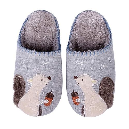 aa943e86ad5 Cute Animal House Slippers Fuzzy Hedgehog Bedroom Slippers Waterproof Sole  Indoor Outdoor Slippers