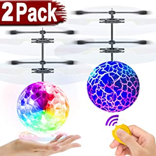 2 Pack RC Flying Ball Glow Flying Toys for Kids Boys Girls Birthday Gifts, Mini Drones Hand Controll Helicopter with 2 Remote Controller Quadcopter Light Up Ball Toys Indoor Outdoor Multiplayer Games