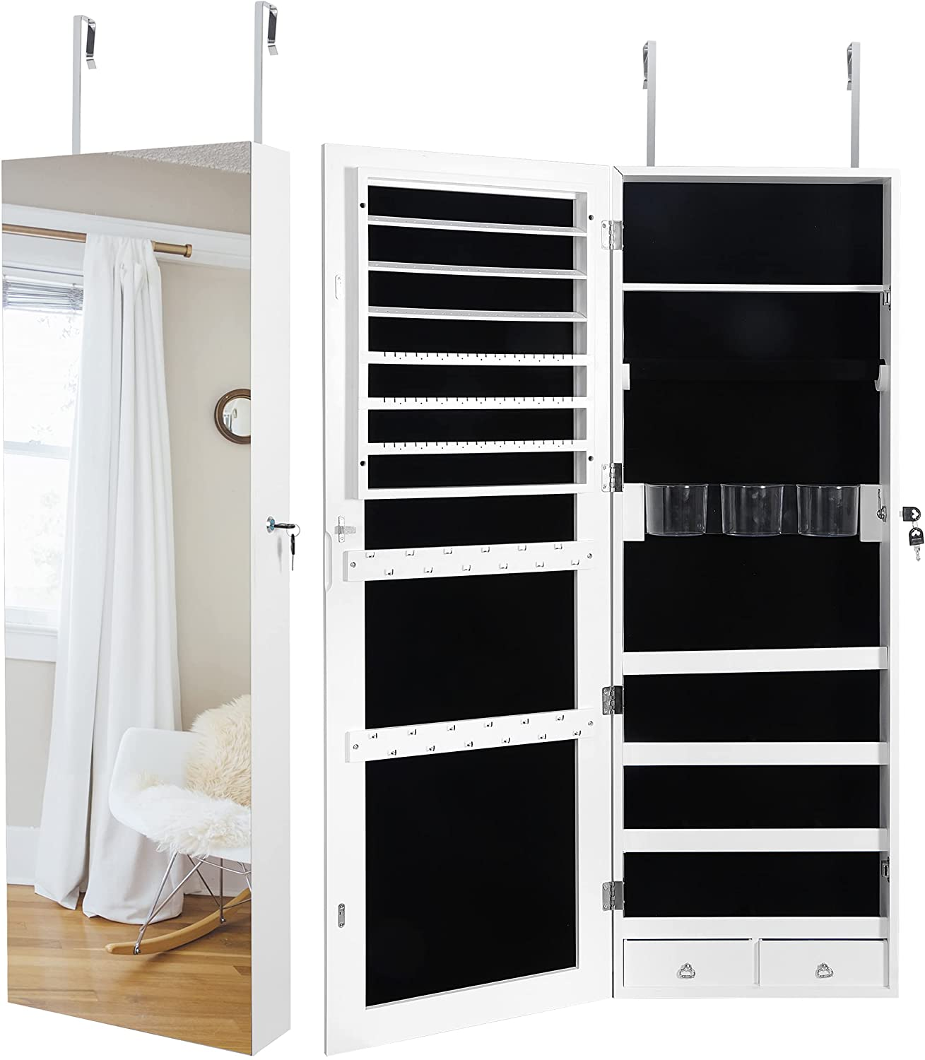 SUPER DEAL Upgraded 2in1 Mail order Jewelry Cabinet Door Max 44% OFF 47.3