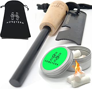 Emergency Fire Starter Kit Ferro Rod 5/16 Thick, with Multi Tool Striker Kit, 10 Waxed Cotton Tinder Tabs in a Tin can, Ca...
