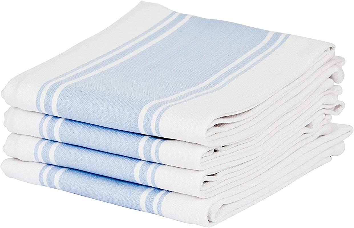 Cucinare Kitchen Towels 100 Cotton Professional Grade Large And Absorbent With Vintage Stripe Tea Towel Set Of 4 Size 20 X 28 4 Blue