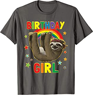 Girl Birthday Sloth B-day Party Kids Gift Idea Sloth Lovers T-Shirt