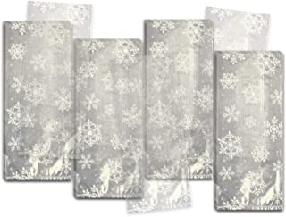 Amscan 40 Count 9-1/2 by 4 by 2-1/4 Cello Festive Snowflakes Party Bags, Small, Clear/White