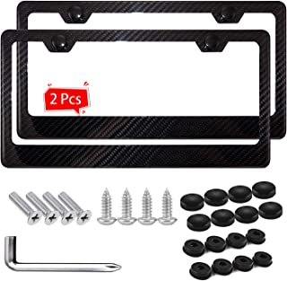 Ease2U Black License Plate Frame , Carbon Fiber Made of Printing Slim Chrome Aluminum Metal Fit for US and Canada (2pcs)