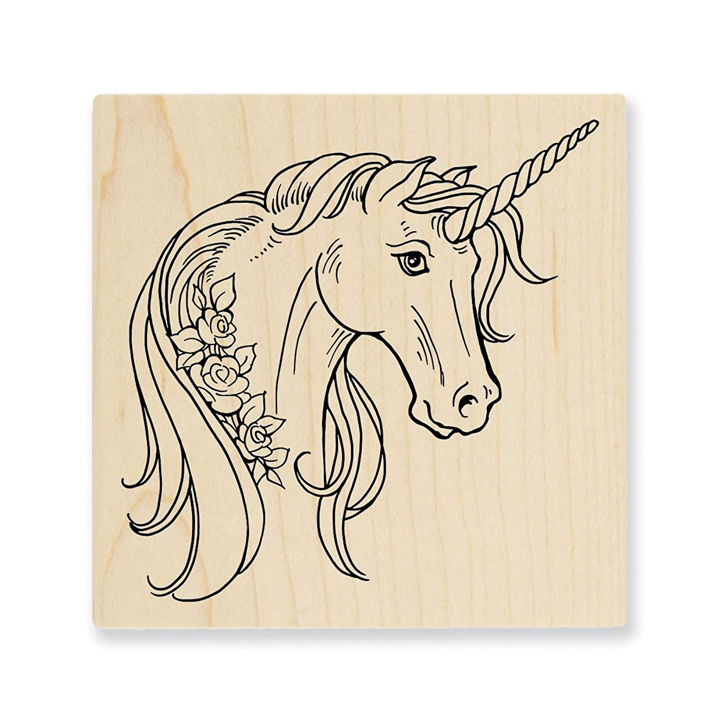 STAMPENDOUS Unicorn Rose Rubber Stamp