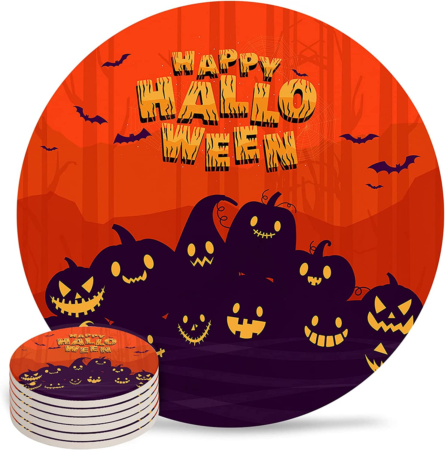Scary Overseas parallel import regular item Halloween Pumpkin Ghost Face and for Bat Coasters A Drink Tucson Mall