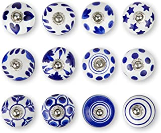 Set of 12 Handmade Knobs | 3 Color Design Ceramic Cabinet Knobs | Drawer Pulls Ideal for Any Home, Kitchen or Office | These Drawer Knobs Comes with 1 Wrench, Screw Cap & Extra Screws, Bolts (Blue)