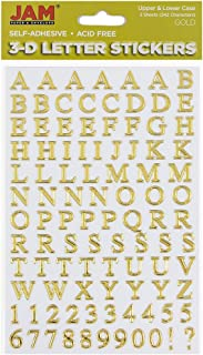 JAM PAPER Self Adhesive Alphabet Letter Stickers - Gold - Upper & Lower Case - 2 Sheets/Pack