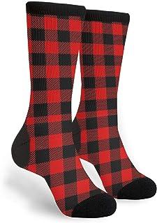Women's Men's Fun Novelty Crazy Crew Socks Red Black Buffalo Check Plaid Pattern Dress Socks