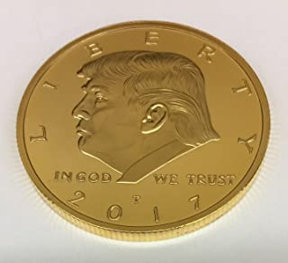 Aizics Mint Donald Trump Coin 2017 Gold Inaugural Eagle Commemorative Coin 38mm. 45th President of The United States of America Certificate of Authenticity M.A.G.A. POTUS