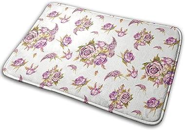 Watercolor Rose Peony Lilac Ancient Bouquet Carpet Non-Slip Welcome Front Doormat Entryway Carpet Washable Outdoor Indoor Mat