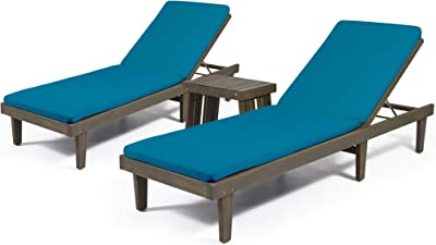 Christopher Knight Home 312734 Edmund Outdoor Acacia Wood 3 Piece Chaise Lounge Set, Gray Finish, Blue