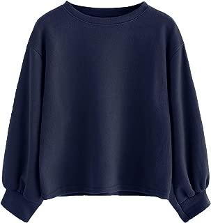 Women's Casual Drop Shoulder Lantern Sleeve Ribbed Pullovers Sweatshirt