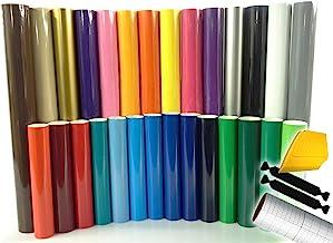 ORACAL 651 Multi-Color Vinyl Starter Kit 12 Inch x 5ft Roll Bundle Including Toolkit & Transfer Paper Roll (15 Rolls)
