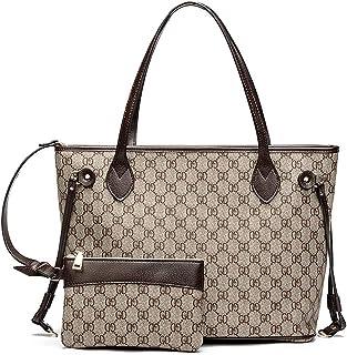 Beatfull Designer Leather Tote Handbags Set for Women, Fashion PU Zipper Tote Bags Purses, Ladies Top Handle Shoulder Bag