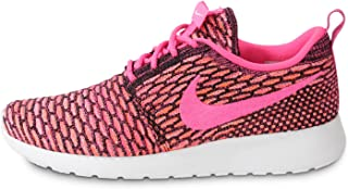 Womens WMNS Rosherun Flyknit Black/Pink Pow-White-Total Orange Synthetic Size 6 Running, Cross Trainers