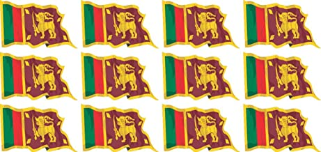 Mini Sticker Pack waving - 50x31mm - Self-Stick - Sri Lanka - Self-Adhesive - Flag Decals - for Car, Office and Home - 12 pieces