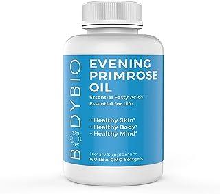 BodyBio Evening Primrose Oil - Natural Gamma Linolenic Acid for Healthy Skin & Hormone Balance - Non-GMO, Cold pressed, 180 Softgels