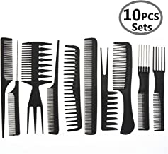Hair Care Comb Anti Static Coarse Fine Toothed Tail Teasing Waves Pick Combs Set of 10,Black