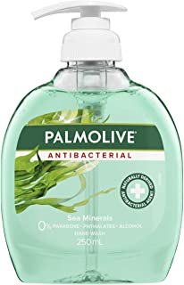 Palmolive Antibacterial Liquid Hand Wash Soap Sea Minerals Deep Cleansing Pump 0% Parabens Recyclable, 250mL