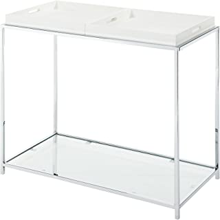 white waterfall console table