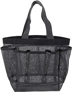 XINSTAR Panier de douche portable en maille pour dortoir, grand sac fourre-tout durable avec 8 poches, sac de douche en ma...