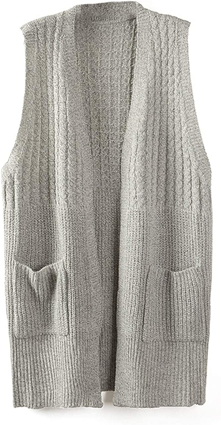 Yimoon Women's Open Front Long Cable Knit Vest Sleeveless Cardigan with Pockets