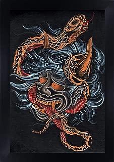 Black Market Art Scorned by Clark North Japanese Devil Hannya Snake Framed Tattoo Artwork Print