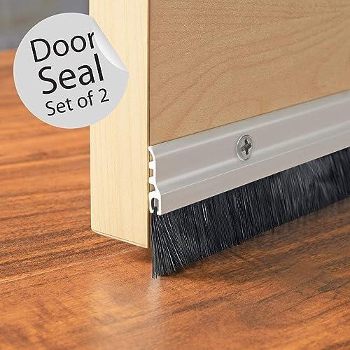 "Deco Window Door Seal (94Cm/36.5"") Aluminium Plate with Nylon Brush Ivory Matt (Set of 2)"
