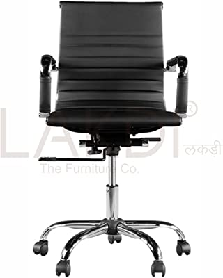 LAKDI Leatherite Finish MFN Medium Back Revolving Office Chair with Armrest Support Comes (Standard Size, Natural colour)