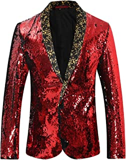 Men's Sport Coat Slim Fit Shawl Collar Sequins Dance Party Blazer Jacket