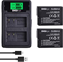 DIGIeye 2 x 1400 mAh DMW-BLC12 Battery (2-Pack) and Dual USB Charger for Pansonic DMW-BLC12 and Panasonic Lumix DMC-FZ200, DMC-FZ1000, DMC-G5, DMC-G6, DMC-G7, DMC-GX8, DMC-G85, DMC-GH2