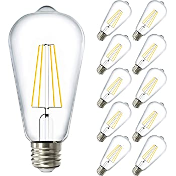 Sunco Lighting ST64 Foco Filamento LED, Regulable, Blanco Neutro (4000K), 8.5W (equivalente a 60W), 800 Lúmenes, Casquillo E26, Estilo Vintage, Impermeable, Luz Decorativa, Iluminación Exterior - Paquete de 10
