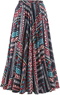 Aztec Print Full Sweep Skirt - Long, Elastic Waist, Boho Casual Style