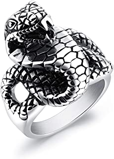 Personalized Snake Shape Domineering Ring Mens Titanium Steel Rings Size US9