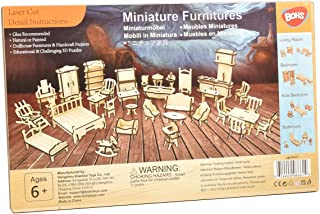 BOHS 34PCS Dollhouse Furnitures Craft Kit -Wooden DIY 3D Puzzle - Miniature Models Doll House Accessories - Ages 6 and Up