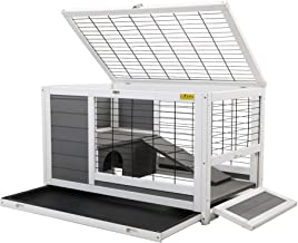 COZIWOW Indoor Outdoor Rabbit Hutch,Small Animal Houses & Habitats,Rolling Large Bunny Cage with Removable Tray, Two Story...