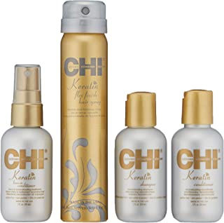 CHI Keratin Strengthen & Revive Kit with Shampoo, Conditioner, Leave-In Conditioner and Flex Finish Hairspray