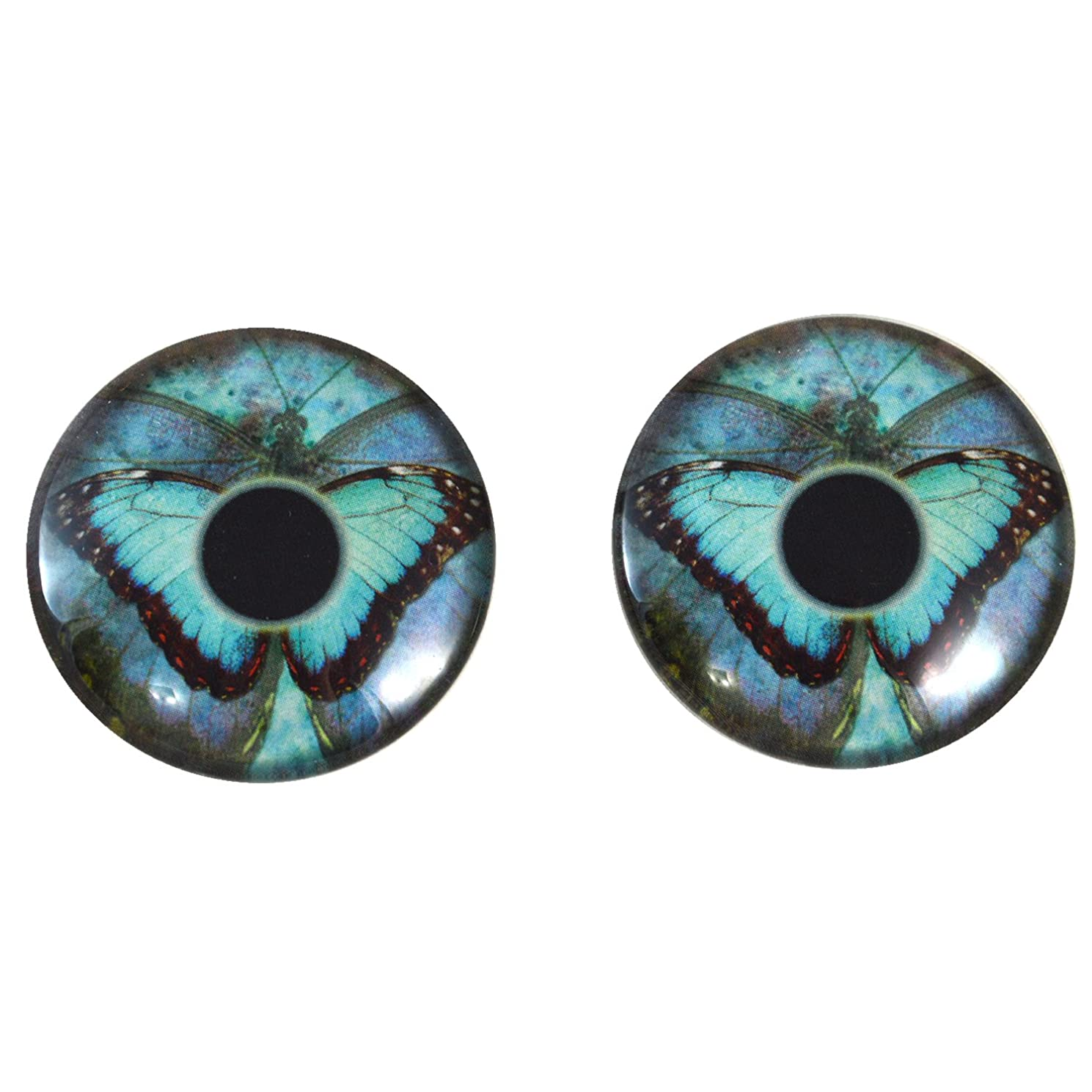 40mm Pair of Big Blue Butterfly Glass Eyes, for Jewelry Making, Arts Dolls, Sculptures, and More