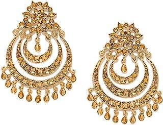 ZAVERI PEARLS 22K Metal Gold Plated Antique Gold Tone Multi Layer Chandbali Earring for Women-ZPFK6996