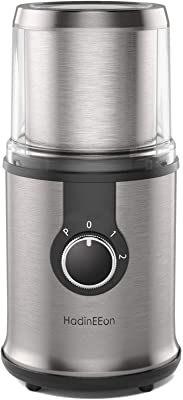 HadinEEon Electric Coffee grinder, 300W Detachable Coffee and Spice Grinder, Automatic Coffee Grinder with Removable Bowl, Compact Stainless Steel Coffee Grinder, 3 Adjustable Modes, 100g/12Cups (Renewed)