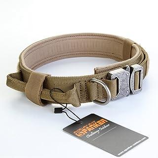 EXCELLENT ELITE SPANKER Tactical Dog Collar Nylon Adjustable K9 Collar Military Dog Collar Heavy Duty Metal Buckle with Ha...